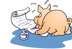 writing pig, ellenweeren.com