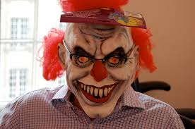 scary clown mask, flickr