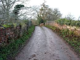 narrow country road in England, wikimedia commons